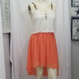 Lace & Chiffon Hi-Low Dress